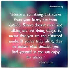 Thich Nhat Hanh ..* this is the true meaning of silence....good to learn the difference between silence and avoiding a situation....