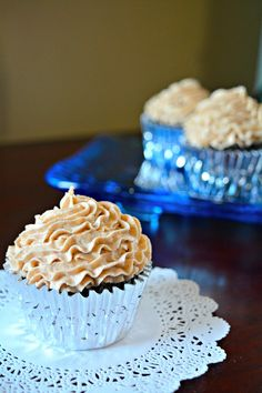 Chocolate cupcakes topped with Chai Buttercream