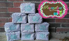 Grey and White Chevron Monogrammed Makeup Bags (Set of 7) PERFECT bridesmaid's gifts!! by PersonalizedbyPriss, $140.00