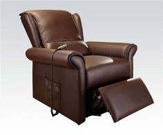 Emari Dark Brown PU Electric Lift Recliner Chair w/Massage Function