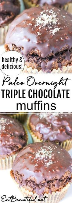 Overnight Triple Chocolate Muffins (soaked & nutrient-dense) - Eat Beautiful My favorite breakfast and snack! No need for chocolate cake with this moist, healthier version! Paleo Overnight Triple Chocolate Muffins are soaked & nutrient-dense! Quick Healthy Desserts, New Year's Desserts, Lemon Desserts, Party Desserts, Triple Chocolate Muffins, Paleo Chocolate, Chocolate Cake, Chocolate Recipes, Blueberry Crumble Bars