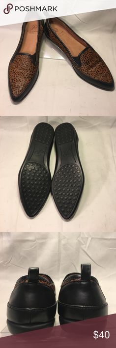 {Adrianna Papell} cowhide fur & leather flats Cute & comfortable {Adrianna Papell} flats. Padded footbed, black leather upper with a spotted cowhide fur insert. All genuine leather and fur,  with pvc outsoles. EUC Adrianna Papell Shoes Flats & Loafers