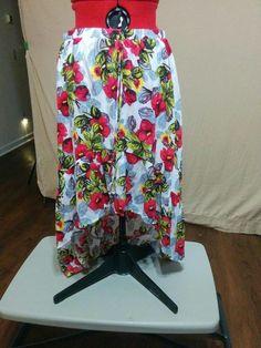 BUY IT NOW! Hi-Lo Full Skirt Bold Red and Yellow Floral Print Ruffle Hem Olsenboye Size XL  | eBay