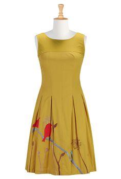 Bird Embroidery Cotton Poplin Dresses, A-Line Dresses Plus Size Shop women's designer dresses - Strapless Dresses - Buy Strapless Dresses | eShakti.com