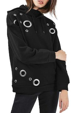 Topshop Grommet Oversize Hoodie available at #Nordstrom