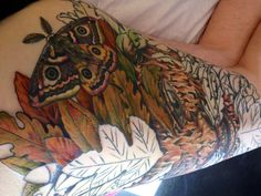 Session 12, 14/06/14, Greenman tattoo, Acorn nestled in leaves added with colouring started on leaves by Craig Smith at Skin Graphics, Lowestoft, UK