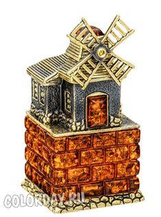 "фигурка ""Старая Мельница"" Baltic Amber, Decorative Boxes, Decorative Storage Boxes"