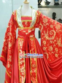 Ancient Chinese Red Phoenix Hanfu Clothing for Women