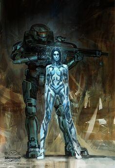 Halo 3 Chief and Cortana by Isaac Hannaford