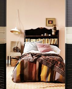 Types Of Eclectic Collector Bedroom. One who originally brought the term eclectic was Johan Joachim Winckelmaan. The term eclectic is used for the wor. Home Bedroom, Bedroom Wall, Bedroom Decor, Bedrooms, Design Bedroom, Farrow Ball, Fall Paint Colors, Bookshelf Headboard, Book Headboard