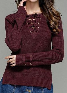 Womens Casual Knitted Lace Up V-Neck Slit Pullover Sweaters    Check this  awesome product by going to the link at the image. (This is an affiliate  link and ... 81fddde8d