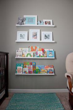 Nursery shelves, turquoise & gray