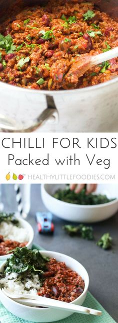 Chilli packed full of 5 different vegetables A great way to increase vegetable intake Perfect for fussy eaters fussyeaters kidsfood via Chilli Recipes, Veggie Recipes, Baby Food Recipes, Healthy Recipes, Toddler Recipes, Hidden Vegetable Recipes, Delicious Recipes, Healthy Food, Bon Appetit