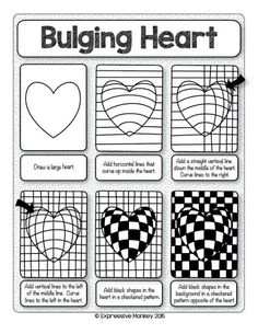 Make this Op Art Heart with step-by-step instructi. - - Nicole Wullweber - Make this Op Art Heart with step-by-step instructi. - Make this Op Art Heart with step-by-step instructi. Optical Illusion Quilts, Art Optical, Optical Illusions, Op Art Lessons, Art Lessons Elementary, Art Worksheets, Ecole Art, Valentines Art, Illusion Art