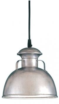 "For my kitchen!!! 9"" Bermuda Pendant, 96-Galvanized, Black Cord Hung"