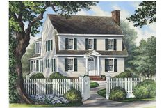 love the white with green shutters combo and the white picket fence