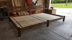 Family Bed Extra Large Bed Platform Bed Bed With by PeaceLoveWood Huge Bed, Big Beds, Large Beds, Master Bedroom Redo, Home Bedroom, Double Queen Bed, Diy Bed Frame, Bed Frames, Family Bed