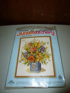 Sunset Stitchery Kit From my Garden Floral Flower by BathoryZ, $59.00