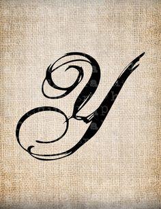 Antique Letter Y Script Monogram Digital by AntiqueGraphique