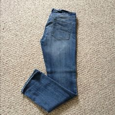 "J. Crew Factory Matchstick Jeans Cotton with a hint of stretch. Sits on hips. Straight through hip and thigh, with a straight, narrow leg. Inseam: 31.5"". Traditional 5-pocket styling.  Machine wash.  Jeans are in great condition. No marks, rips. Only worn a few times. Any distressing on bottom of jeans is the style of jean. J. Crew Jeans"