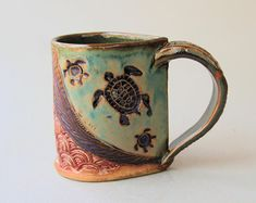 Sea Turtle Pottery Mug Coffee Cup Handmade Stoneware Tableware Microwave and Dishwasher Safe 12 oz