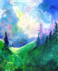 Landscape Painting Modern Artwork Colorful by kerriblackmanfineart, $210.00