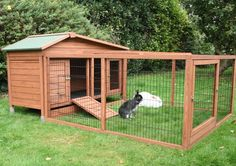 This rabbit cage combo allows the rabbits to be inside or out.