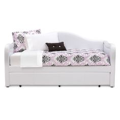 Covered in a rich white durable leather like fabric. Stocked in brown or white upholstery. Comes complete with roll out trundle bed underneath for that extra sleeping surface.