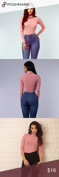 Dusty Rose Turtleneck Bosysuit Gorgeous Dusty Rose ribbed Turtleneck Bodysuit, full description above! New with tags Fashion Nova Tops Tees - Long Sleeve