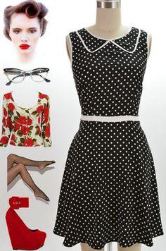 Lebombshopdotnet on ebay black with white polka dots sleeveless shirtdress retro 50s
