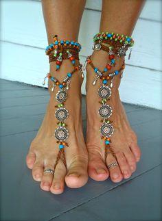 BAREFOOT BOHEMIAN WEDDING barefoot sandals slave Anklets crochet Sandals sole less shoes crochet anklets antique flowers. $74.00, via Etsy.