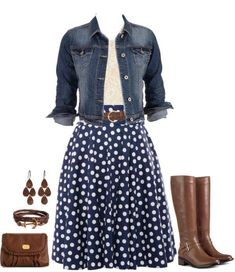 Super cute casual look: lace top, denim jacket, polka dot skirt, riding boots.