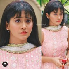 Girl Pictures, Girl Photos, Lengha Blouse Designs, Shivangi Joshi Instagram, Baby Bangs, Indian Bridal Outfits, Pink Suit, Cute Love Couple, Haircuts With Bangs