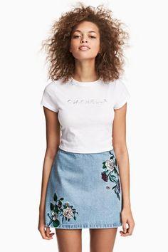 Denim rok met borduursel - Blauw/borduursel - DAMES | H&M NL