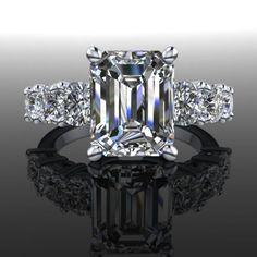 Forever Brilliant Moissanite Seven Stone Engagement Ring Emerald Cut 5.32 CTW