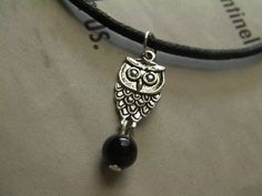 Owl Necklace Onyx Black Cord Silver Bird by ArtisticSparkle