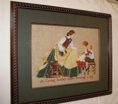 "The #Teacher Completed Framed Cross Stitch on Linen Marilyn Imblum 20.5"" x 17.5"""