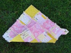 Pink and Yellow with Giraffes and Frogs Flannel Rag by AuntBugs, $18.00