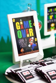 Super Mario Party, game over sign and Nintendo Hershey bar wrappers Super Mario Birthday, Mario Birthday Party, Super Mario Party, 6th Birthday Parties, Boy Birthday, Mario Party Games, 5th Birthday Ideas For Boys, Sleepover Party, Birthday Games