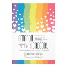 This Rainbow Wedding Invitation Is Fun And Colorful With Stripes Of All The Colors In Pretty Hearts Floating Up Sides