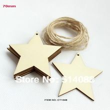 (set of 60) 70mm Natural rustic wood star tags wishing tree favor plain custom tags with string hanging-CT1048(China (Mainland))