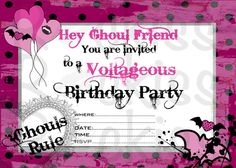 Monster High inspired printable digital invitation. INSTANT DOWNLOADING for you to print