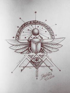 - The Best Geometric Space Tattoos - Planet Tattos Ideas Bad Tattoos, Body Art Tattoos, Tattoo Drawings, Print Tattoos, Sleeve Tattoos, Egyptian Scarab, Egyptian Symbols, Egyptian Art, Afrika Tattoos