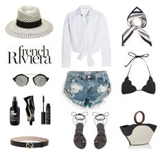 """Unbenannt #657"" by fashionlandscape ❤ liked on Polyvore featuring Ancient Greek Sandals, Anja, Maison Michel, One Teaspoon, Maje, Illesteva, The Row, Marysia Swim, Aesop and NARS Cosmetics"