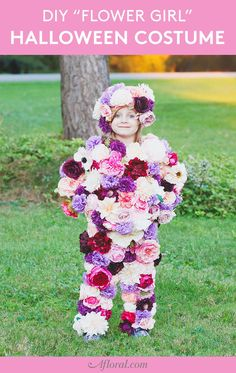 "What is your flower child going to be for Halloween? with ""Flower Girl"" is taking on a new meaning this Halloween! To see how EASILY we put together this - see our stories! Pastel Flowers, Fake Flowers, Diy Flowers, Artificial Flowers, Diy Halloween Costumes For Girls, Diy Costumes, Halloween Diy, Costume Ideas, Halloween Flowers"