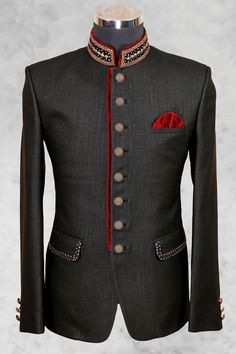 #black rich #jute suit with bandhgala collar-ST486