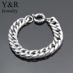 handmade polished stainless steel curb bracelet