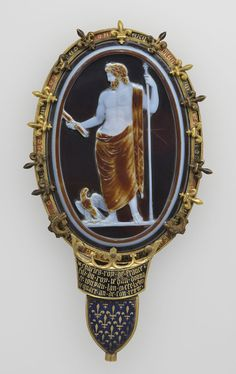 Berthouville Treasure Cameo of Jupiter (The Cameo of Chartres). Roman, about A.D. 50. Sardonyx set in fourteenth-century gold and enamel mount H: 15.2 cm; L: 6.5 cm. Bibliothèque nationale de France, Département des monnaies, médailles et antiques, Paris. VEX.2014.1.104