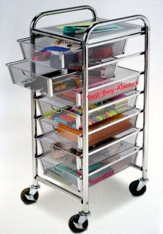 Wired 7 drawer cart rolling storage cart with drawers storage 7 drawer rolling organizer with table all metal mesh scrapbook storage cart chrome office utility craft michaels sciox Images