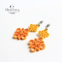 Yellow Orange Filigree Earrings - Handmade Paper Quilling Jewelry by LeQuillery, $17.00